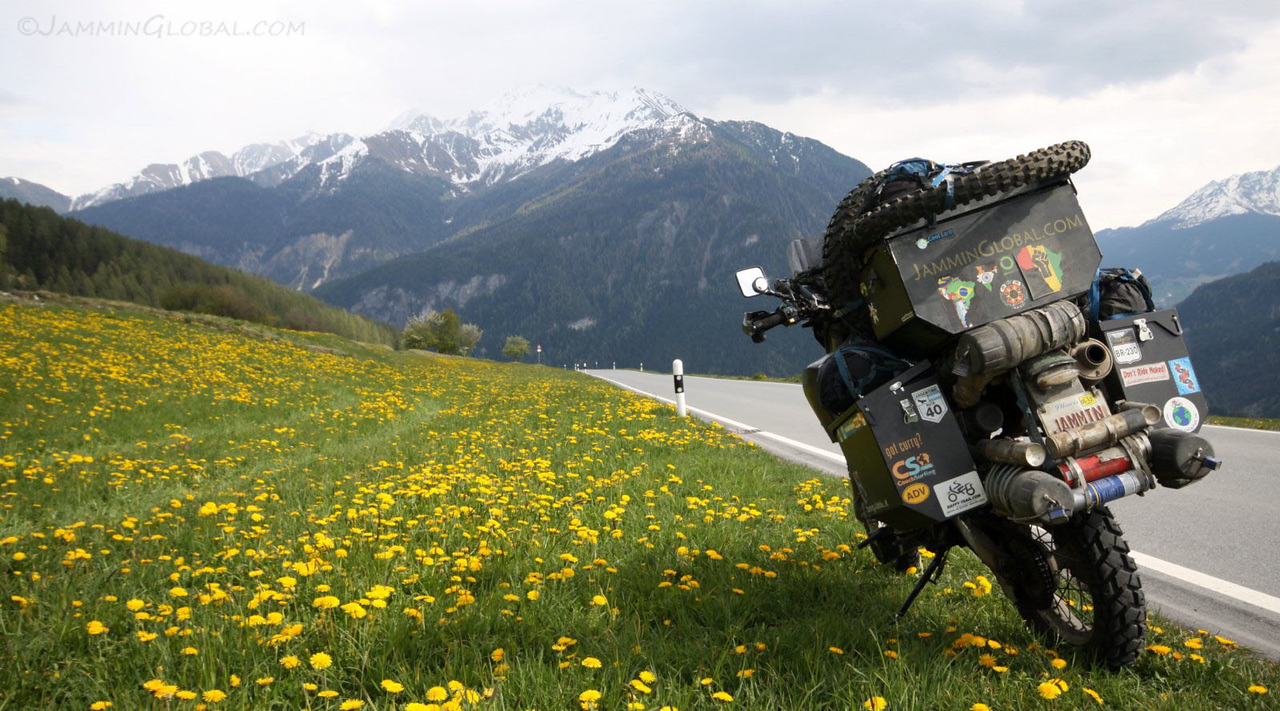 sanDRina riding across the Alps in Switzerland