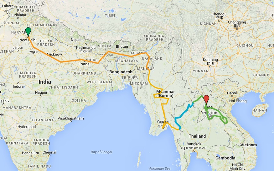 Jammin south to south east asia india myanmar thailand laos and ill post some photos from the start of the ride till now and heres the route map gumiabroncs Gallery