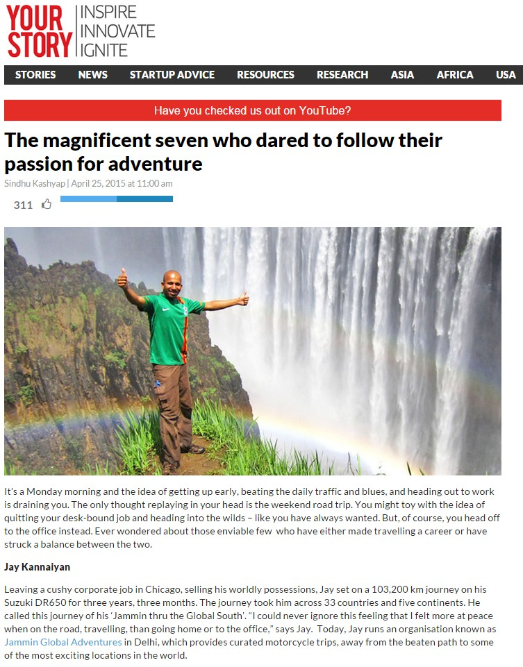 YourStory on Jammin Global Adventures